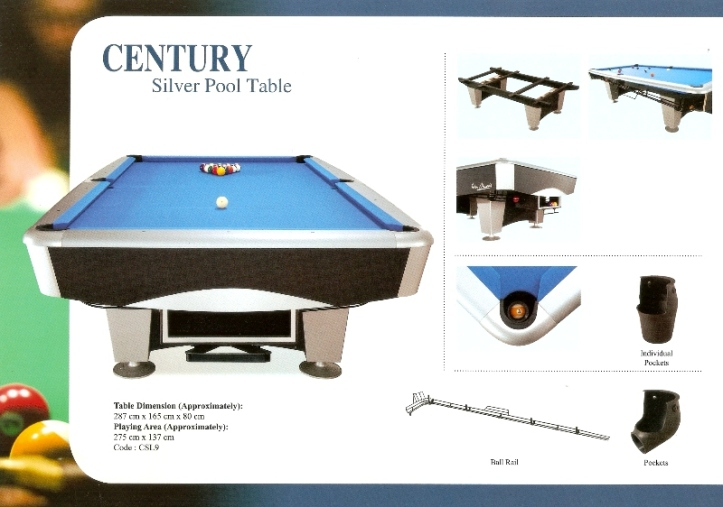 Century Silver 9ft Pool Features 2014