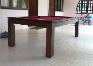 Pranzo 7ft with Burgundy Cloth Side View
