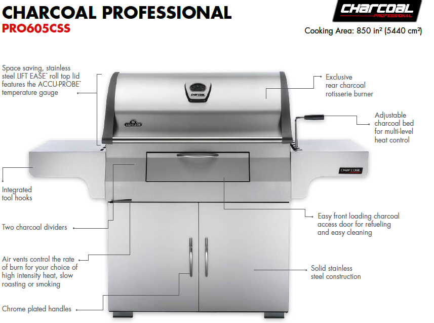 NAPOLEON Charcoal Professional PRO605CSS Description