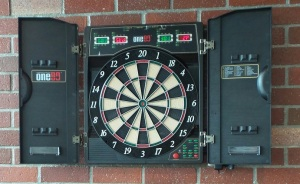 One80 Deluxe Electronic Dart Board on Brick