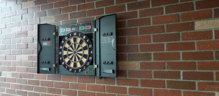 One80 Electronic Deluxe Dart Board with Cabinet